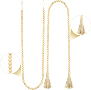 2 Pieces Wooden Beads Garland with Tassels Rustic Wood Bead Garlands Farmhouse Wall Hanging Garlands for Home Decoration