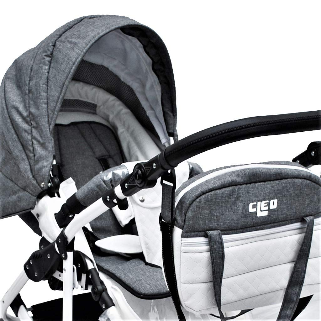 Cleo Kombi Kinderwagen 3 in 1 Komplettset mit Vollgummireifen grau//wei/ß mit Kunstlederelementen