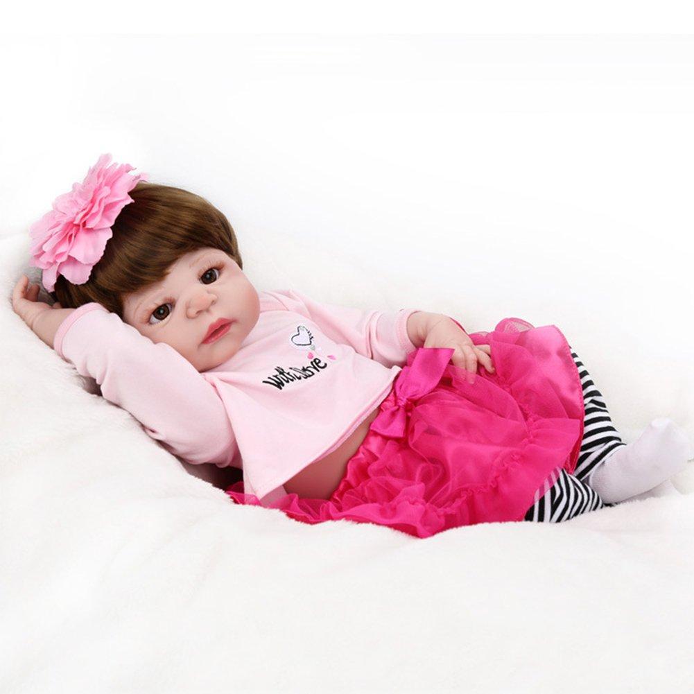 Morbido Silicone Bambola Reborn 22 Pollici 55Cm Realistico Appena Nato A Mano Con Cute Dress Bambino Bagno Giocare Giocattolo Natale Vacanze Regali HMYH Doll