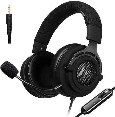 NUBWO PS4 Gaming Auriculares para Juegos de PC con Micrófono, Auriculares Estéreo de 3,5 mm de Volumen de Micrófono para Xbox One, Mac Playstation 4 (N9D 3,5mm - Negro): Amazon.es: Informática
