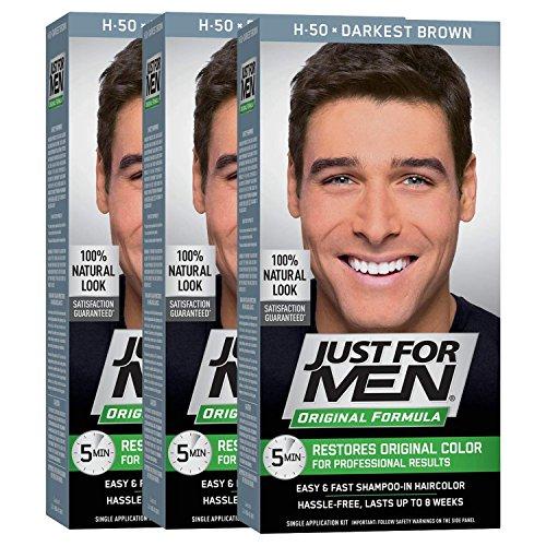 Just For Men Original Formula Men's Hair Color, Darkest Brown (Pack of 3)