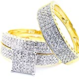 1cttw His and Her Trio Rings Set 10K Yellow Gold Square Shaped Pave Square Top 3pc Set