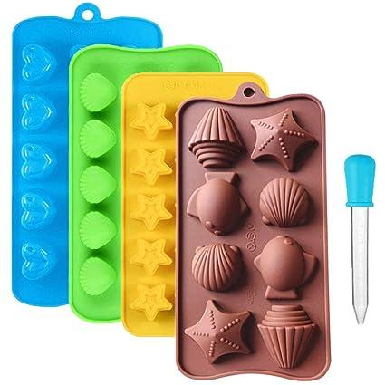 CKANDAY 4 Paquete moldes de Silicona para Dulces de Chocolate, con 1 pz Gotero líquido
