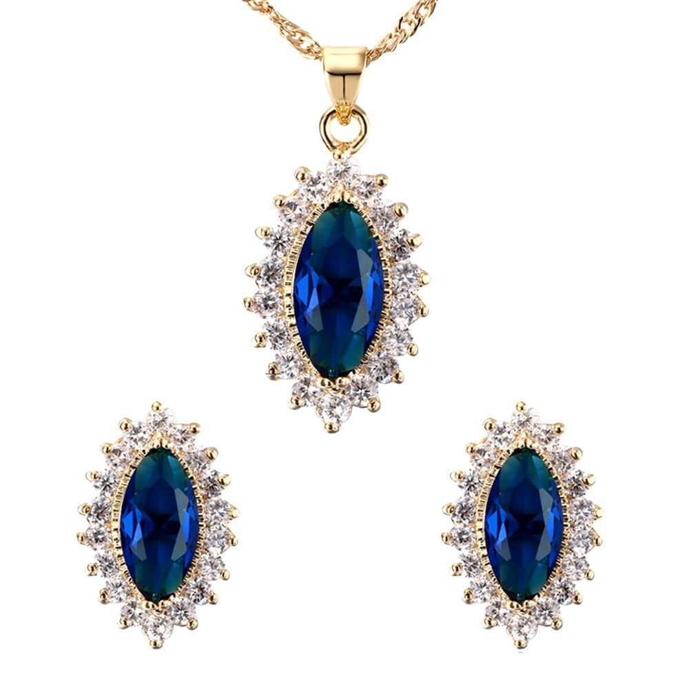Women Pendant Necklace Earrings Artifical Sapphire Elegant Jewellery Set for Party Wedding (Blue) Qiqilei MFSUT311078
