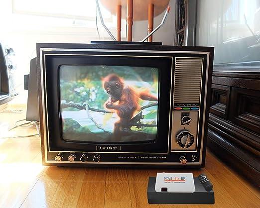 Conversor de HDMI a coaxial RF modulador para TV – HDMI en salida coaxial Convertidor Caja con mando a distancia RF adaptador de transmisor de señal analógica con función de zoom para