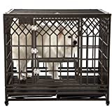 SMONTER 42'' Heavy Duty Strong Metal Dog Cage Pet Kennel Crate Playpen with Wheels, Y Shape, Brown
