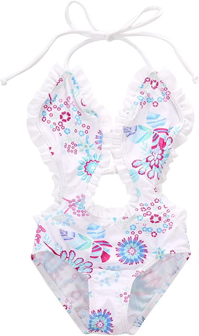 lheaio Little Girls Summer One-Piece Ruffle Flower Print Swimwear Halter Backless Swimsuit
