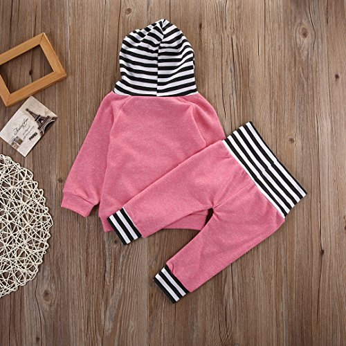 0e6373988 Kids Baby Boys Girls Hoodie Outfit Long Sleeve Sweatshirt Top Striped Pants  Set with Pocket