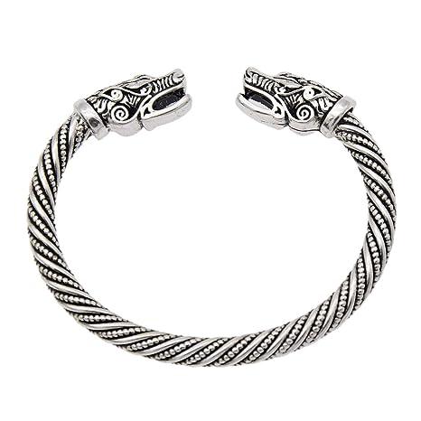 d1108305464d YNuth Hombres Pulsera Vikings del Diseño Cabeza de Lobo Brazalete Vikingo  Abierta Tono Plateado