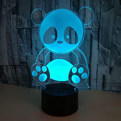 3D Panda Night Light Illusion Lamp 7 Color Change LED Touch USB Table Gift Kids Toys Decor Decorations Christmas Valentines Gift: Baby