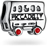 Silver London Piccadilly Bus Charm Bead Fits Women's Charm Bracelets