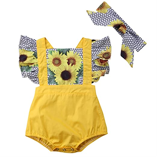 6343f74d90af WINAGAINER Newborn Infant Baby Girl Sunflower Romper Flutter Sleeve Bodysuit  with Headbands One Piece Outfit 0
