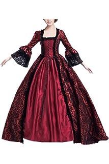 Vestido Maxi con Cordones y Estampado Gotico Medieval de Mujer Traje de  Manga Media Collar Cuadrado 54f362613206