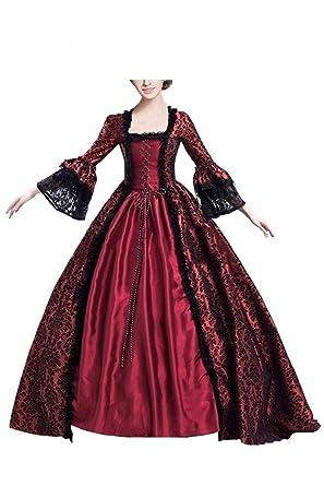 Vestido Maxi con Cordones y Estampado Gotico Medieval de Mujer Traje de Manga Media Collar Cuadrado Retro Renacentista