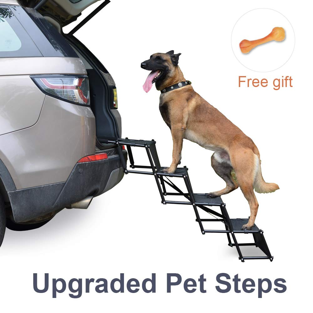 Upgraded Nonslip Car Dog Steps, Portable Metal Fram Large Dog Stairs for High Beds, Trucks, Cars and SUV, Lightweight Folding Pet Ladder Ramp with Wide Steps can Support 150 Lbs Large Dogs, Black by Niubya
