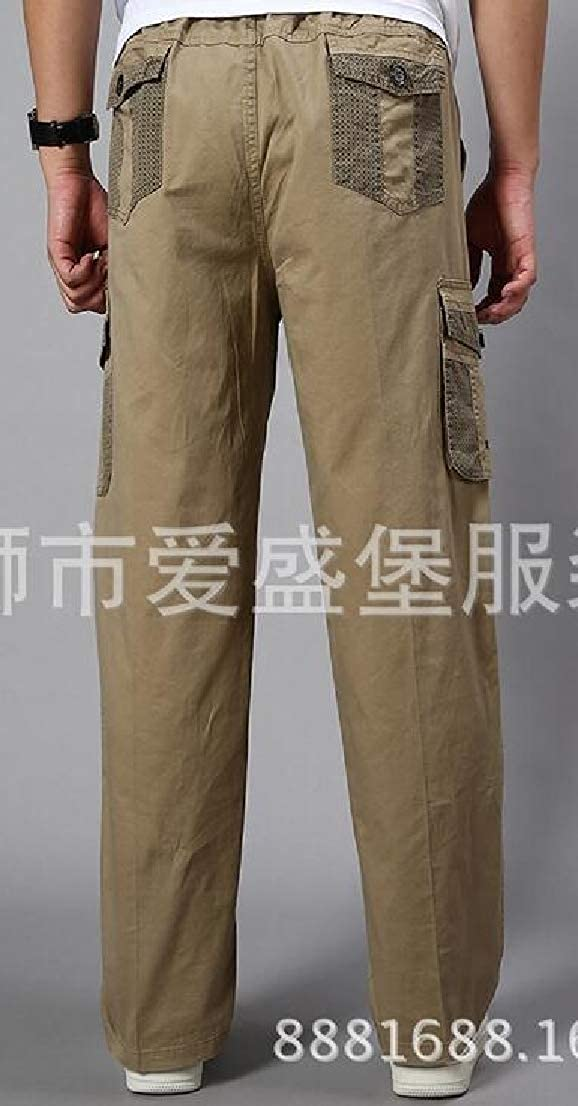 Alion Mens Expandable Waist Straight Loose Fit Linen Cotton Casual Pants