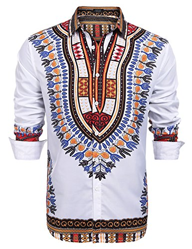 COOFANDY Men's Fashion African Dashiki Floral Printed Long Sleeve Shirts, Red, Large