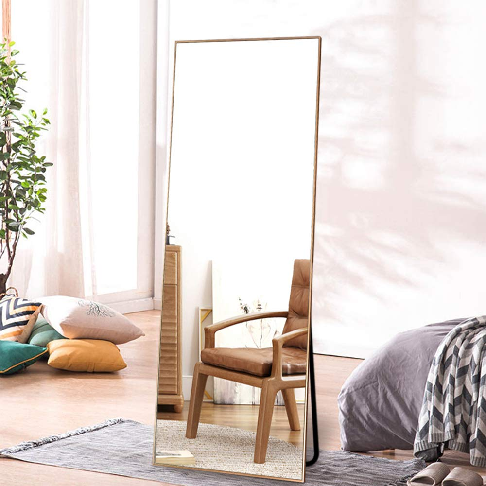 ONXO Full Length Mirror Large Floor Mirror Standing or Wall-Mounted Mirror Dressing Mirror Frame Mirror for Living Room/Bedroom/Cloakroom (65''X22'', Gold) by ONXO
