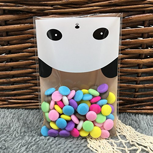 Saasiiyo 50pcs Panda Self Adhesive Christmas Gift Cartoon Plastic Cookie Pastry Biscuit Candy Bag sacos de plastico doces natal - Rent A Panda Costume