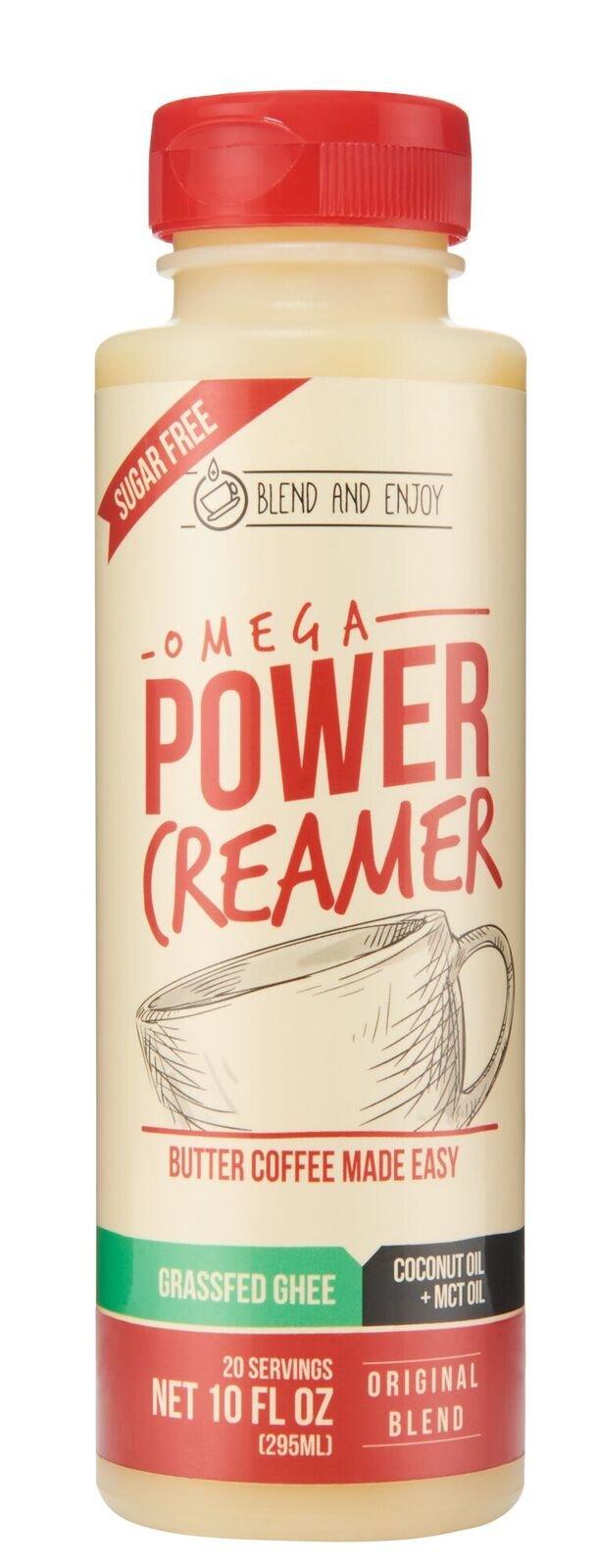 Omega PowerCreamer - Made with Grass-fed Organic Ghee, Organic Coconut Oil, MCT Oil 100% C8/C10 | Premium Butter Coffee Blend | keto, paleo, sugar free, 10 fl oz (20 servings)