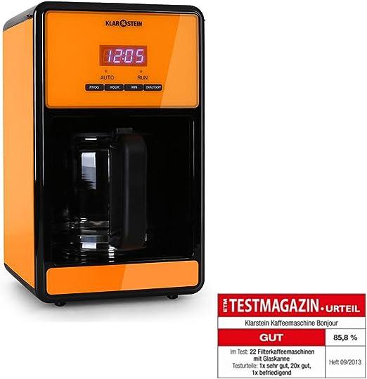KLARSTEIN Bonjour cafetera 1000W Temporizador 1,5l Naranja: Amazon ...