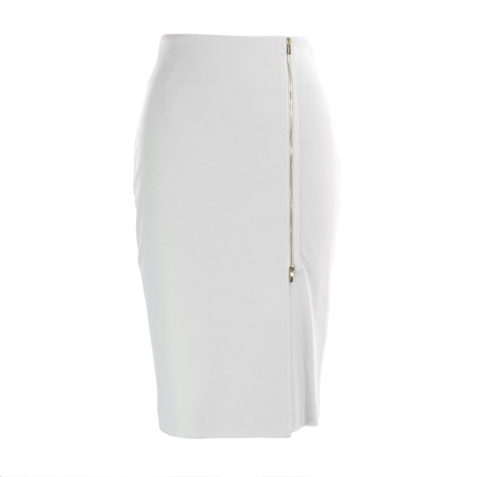 Max Mara Women's Visita Front Zip Accent Pencil Skirt Sz 4 White