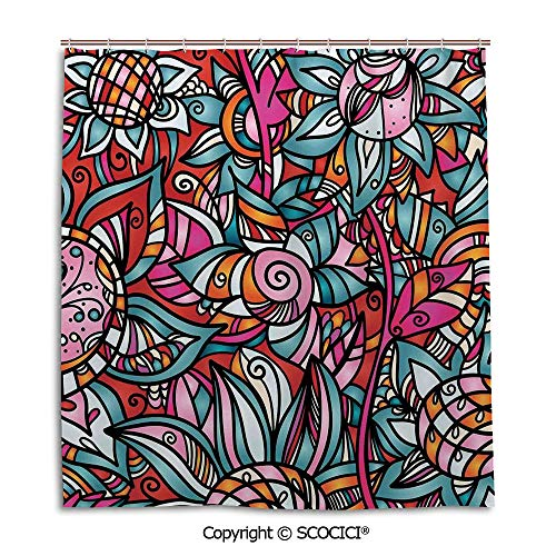 - SCOCICI Simple Bathroom Curtain Personality Privacy Convenience,66X72in,Abstract Home Decor,Colorful Abstract Florals Sunflower Mosaic Curl Ornaments Stained Glass Decorative,Used for Bathing Privacy