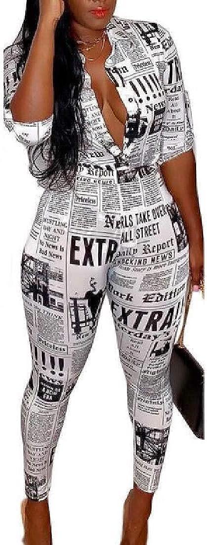KLJR Women Letter Print Long Sleeve Shirts Button Up Tops Bodycon Long Pants Set