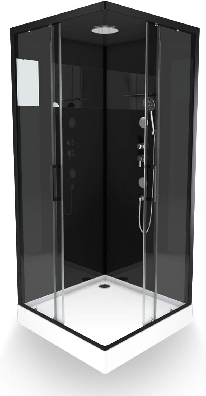 Aurlane CAB182 - Cabina de ducha, color negro y transparente: Amazon.es: Bricolaje y herramientas