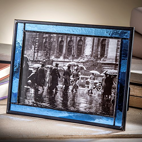- J Devlin Pic 324-57HV Blue Stained Glass 5x7 Picture Frame Home Decor Photo Frame Keepsake Gift