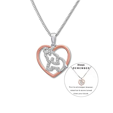 c97dfe0eb Personalized Mom Necklace Gifts for Mother's Day Elephant Charm Necklace  with Crystal Zircon Heart Necklace Designed