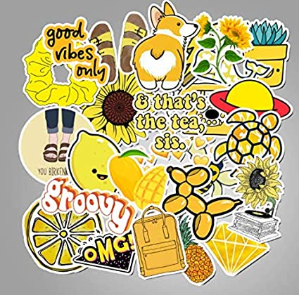 50 PCS Cartoon Yellow VSCO Stickers For Chidren Toy ...