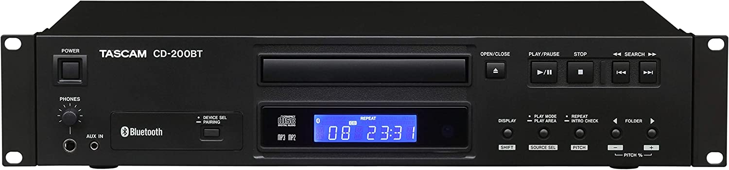 Tascam CD-200BT Rackmount Professional CD Player with Bluetooth Wireless