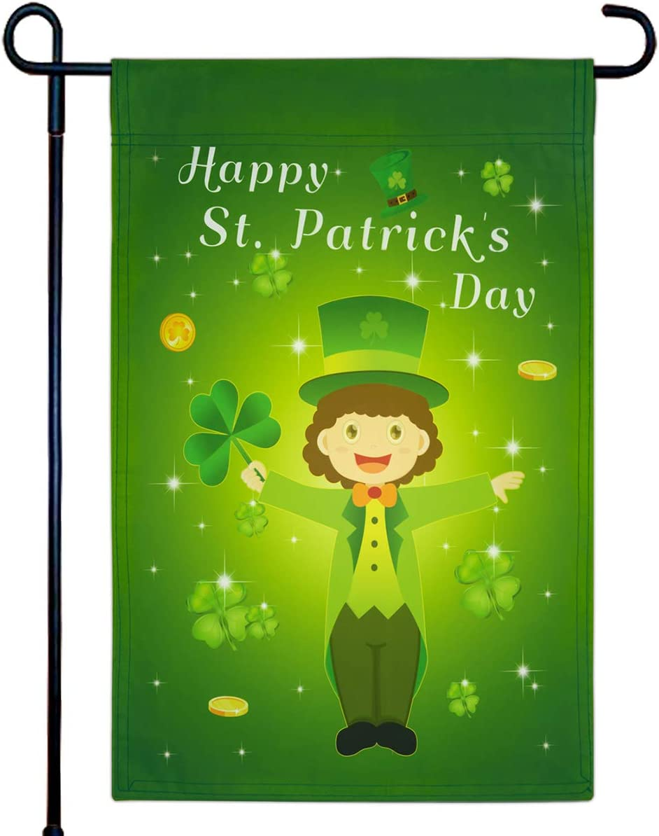 Fancy Land Happy St. Patrick's Day Garden Flag Double Sided Leprechaun Shamrock Home House Decorative 12 x 18 Inch