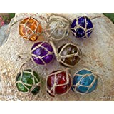 """Set of 8 ~ 2"""" Glass Fishing Buoys 8 Assorted Colors Roped Net Floats Buoy"""