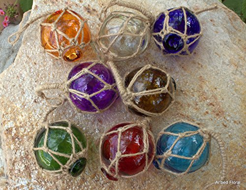 Set of 8 Assorted Color Fishing Buoys in Natural Jute Netting for Hanging