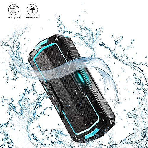 BlitzWolf Portable Wireless Speakers Waterproof 10W 2000mAh IPX5 Water-resistant Hands Free Wireless 8+ hours MP3 Music Player for Home Shower and Outdoor Activity Blue