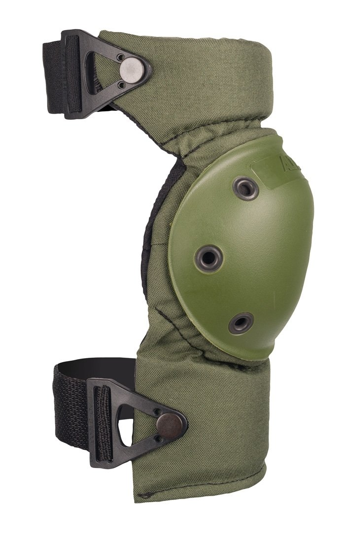 This is an image of a tactical knee pad, in olive green color facing sideward.