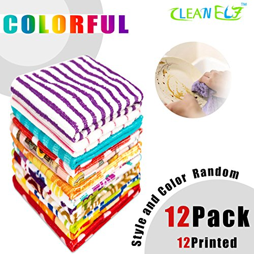 12 Pack Soft Washcloths Bulk /Dish Rags/Printed Kitchen Towels/Magicfiber Microfiber Cleaning Cloth/Hand Towels Disposable,Multipurpose for Kitchen,Bathroom and Car (12x12,Random Colored?