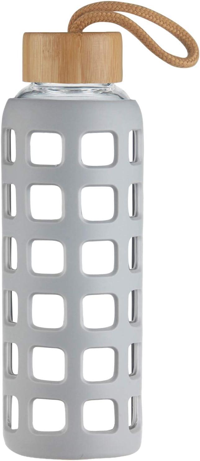 Cleesmil Botella de Agua de Cristal de Deporte con Funda de Silicona con Tapa de Bambú 360 ml / 660 ml / 1000 ml