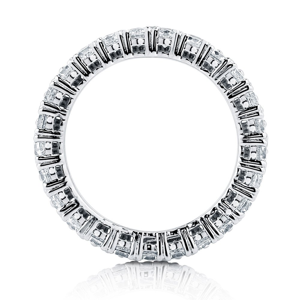 BERRICLE Rhodium Plated Silver Cubic Zirconia CZ Anniversary Stackable Eternity Ring Size 7 by BERRICLE (Image #2)