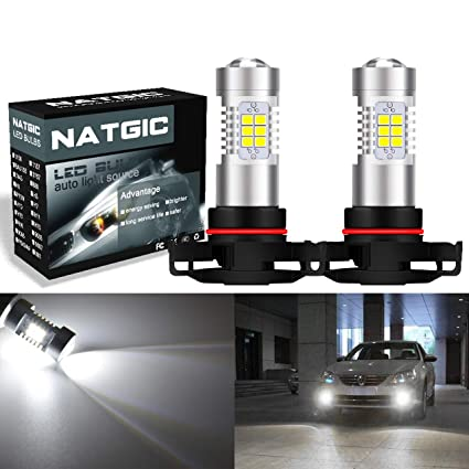 NGCAT Auto LED Bulb 2PCS H16 5202 DRL Fog Light Replacement 2835 21 SMD  Chipsets LED Bulbs with Lens Projector Car Driving Daytime Running