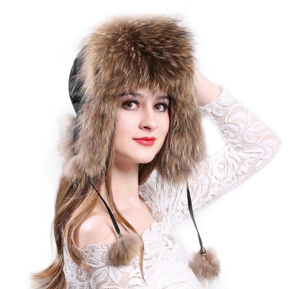 Manka Vesa Women's Real Fox Fur Hats Sheep Leather Earmuffs Warm Winter Hats Racoon Fur