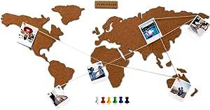 Flamingueo Mapa Mundi Corcho Pared - Mapamundi Grande con ...