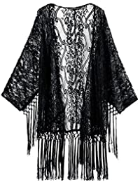 Imixshopcs Women Lace Crochet Kimono Tassels Cardigan Tops Blouse Shirt Bikini Cover Up (M, Black)