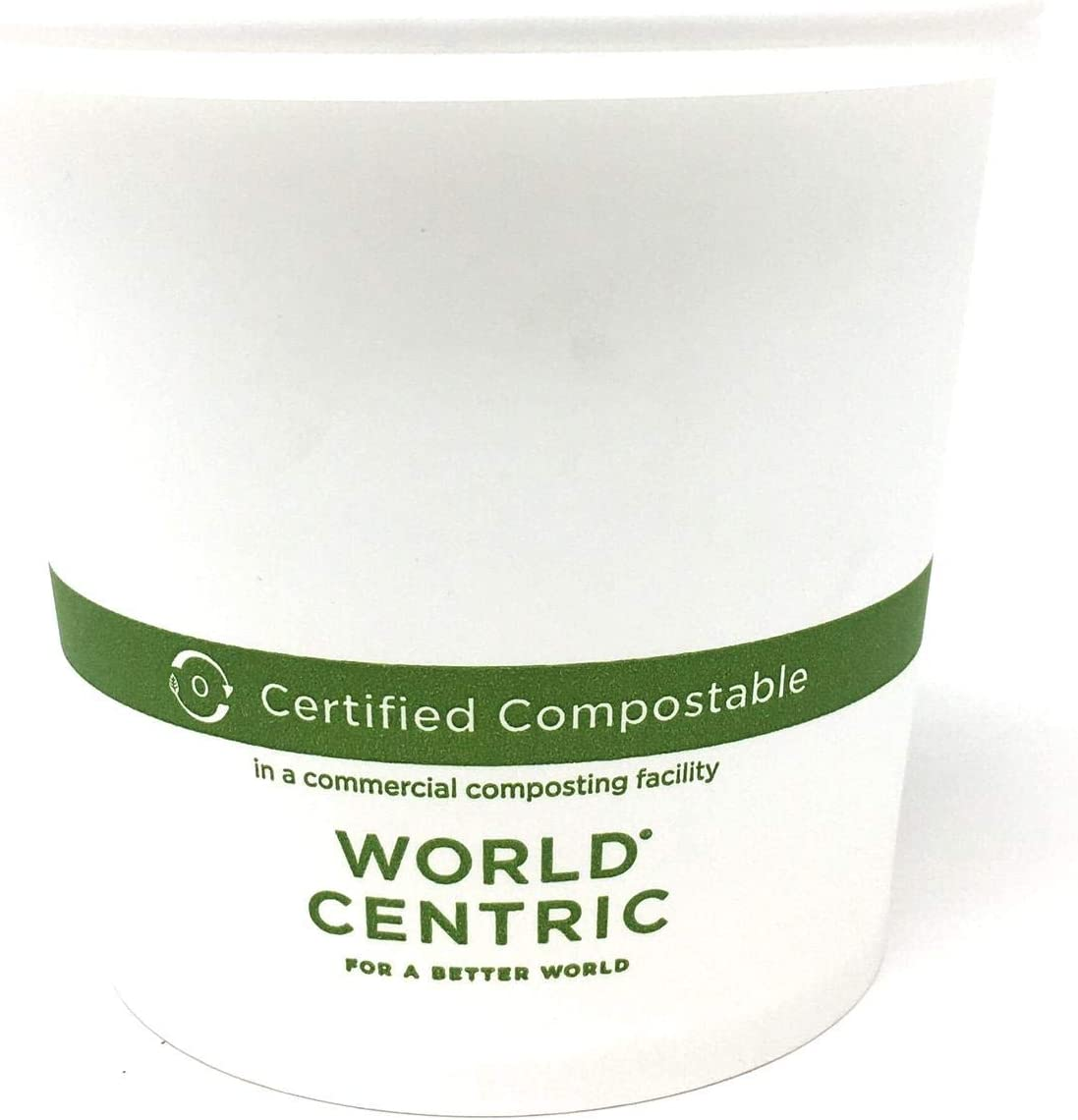 World Centric 24 Ounce White Compostable Paper Bowls and InGeo Natural plastic Lids. Pack of 50 Sets