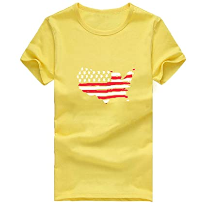 481e0e7ba7f3 Amazon.com : Leadmall T-shirt Women American Flag Print Tops- USA Graphic  Crew Neck Short Sleeve T Shirts - Casual Blouse (M, Yellow) : Garden &  Outdoor