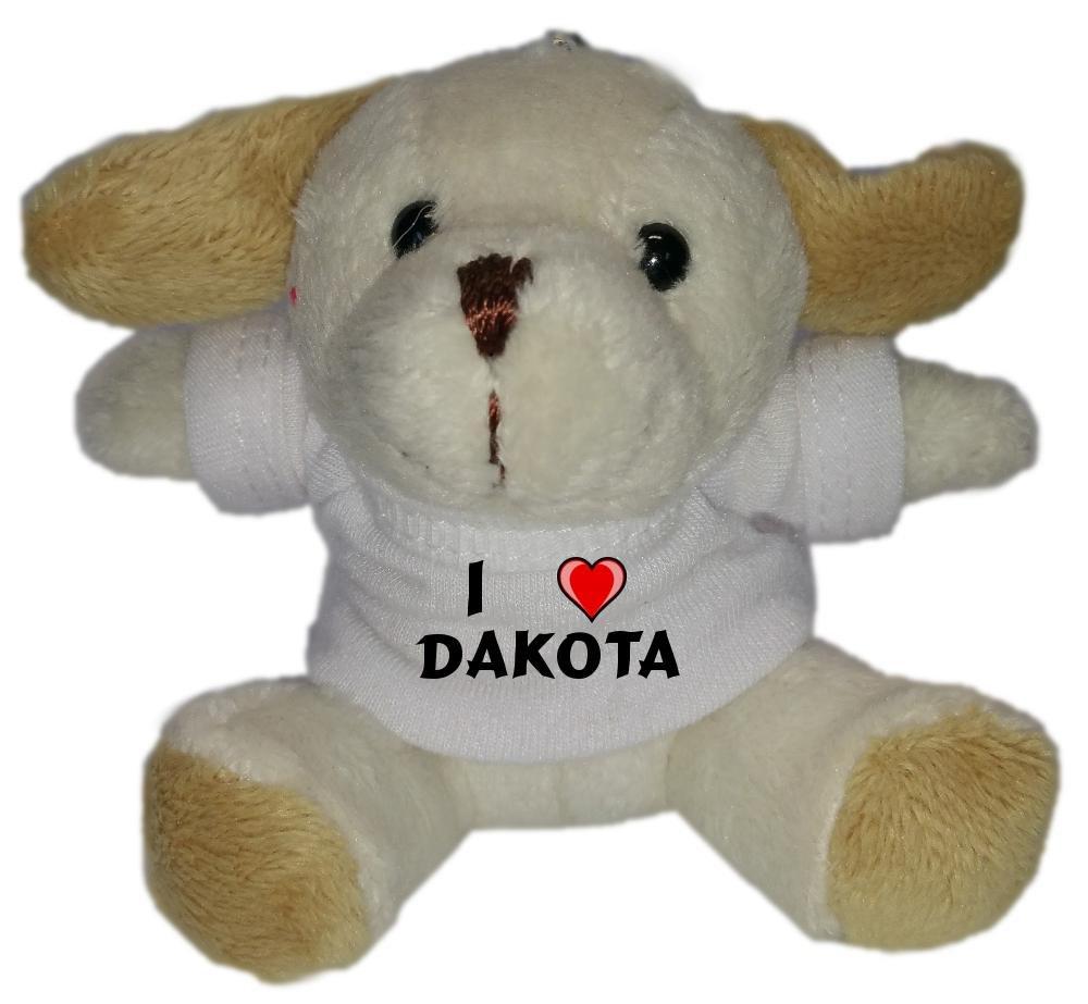 Perro de peluche (llavero) con Amo Dakota en la camiseta ...