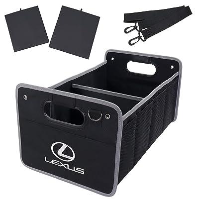 KRADA Auto Car Cargo Trunk Organizer for Lexus Black Oxford Collapsible Portable Multi Compartments Storage Container Trunk Organizer: Automotive