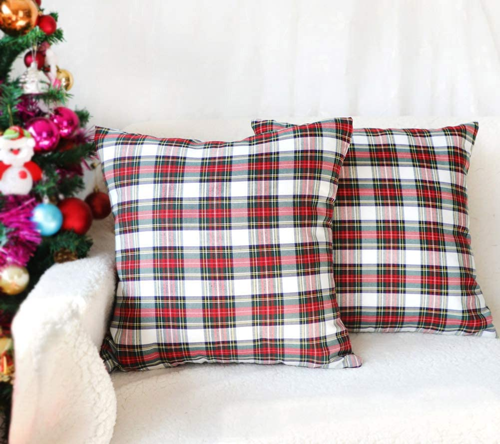 4TH Emotion Set of 2 Christmas Scottish Tartan Plaid Throw Pillow Covers Cushion Case Cotton Polyester for Farmhouse Home Decor Red and White, 18 x 18 Inches